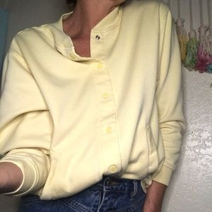 🐥VTG pale yellow BLAIR snap button jacket